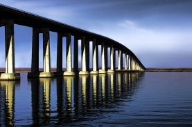 Antioch Bridge: Blue Hour by James Lewis